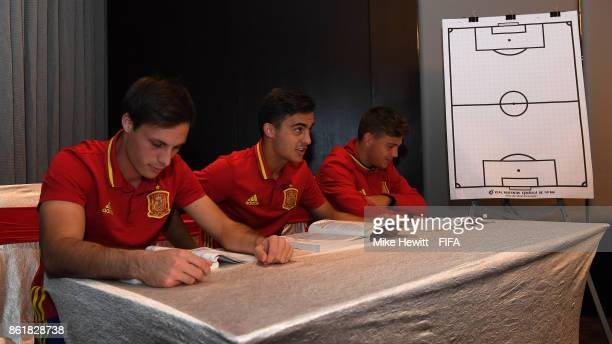 Marc Vidal Diego Pampin and Nacho Diaz of Spain spend one hour a day on their studies during the FIFA U17 World Cup India 2017 tournament at the...