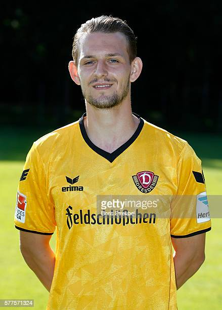 Marc Wachs of Dynamo Dresden poses during the Dynamo Dresden Team Presentation on July 19 2016 in Dresden Germany