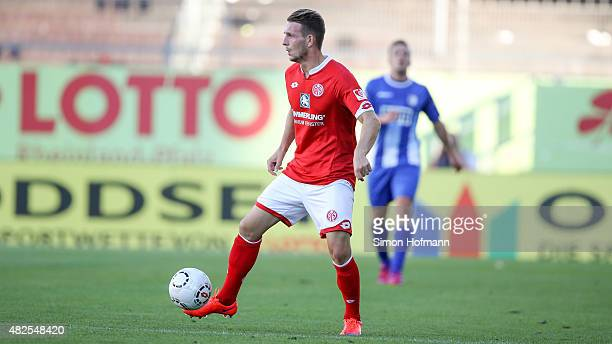 Marc Wachs of Mainz controls the ball during the 3 Liga match between 1 FSV Mainz 05 II and 1 FC Magdeburg at Bruchweg Stadium on July 31 2015 in...