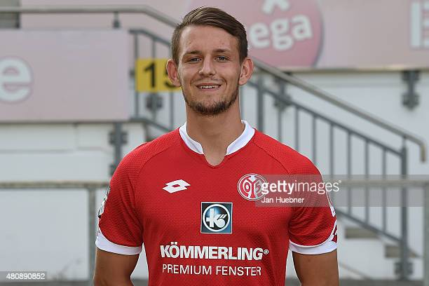Marc Wachs poses during the official team presentation of 1 FSV Mainz 05 II at Bruchweg Stadium on July 15 2015 in Mainz Germany