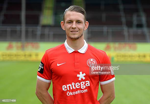 Marc Wachs poses during the team presentation of 1 FSV Mainz 05 II at Bruchwegstadion on July 16 2014 in Mainz Germany