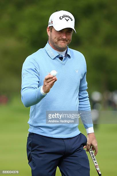 Marc Warren of Scotland celebrates a birdie on the 18th hole during the second round of the Dubai Duty Free Irish Open Hosted by the Rory Foundation...