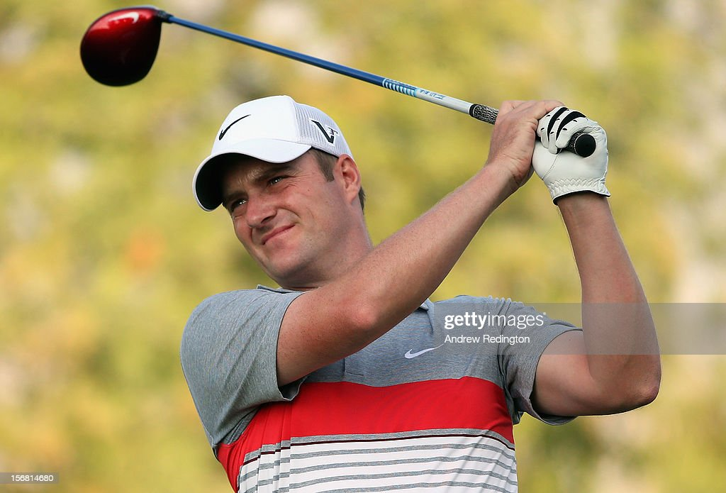 Marc Warren of Scotland hits his tee-shot on the second hole during the first round of the DP World Tour Championship on the Earth Course at Jumeirah Golf Estates on November 22, 2012 in Dubai, United Arab Emirates.