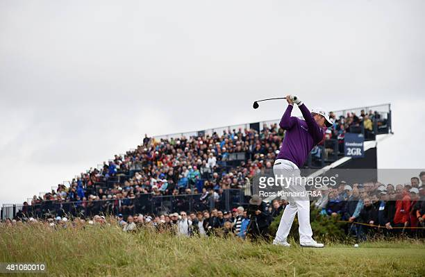 Marc Warren of Scotland htis his tee shot on the third hole during the second round of the 144th Open Championship at The Old Course on July 17 2015...