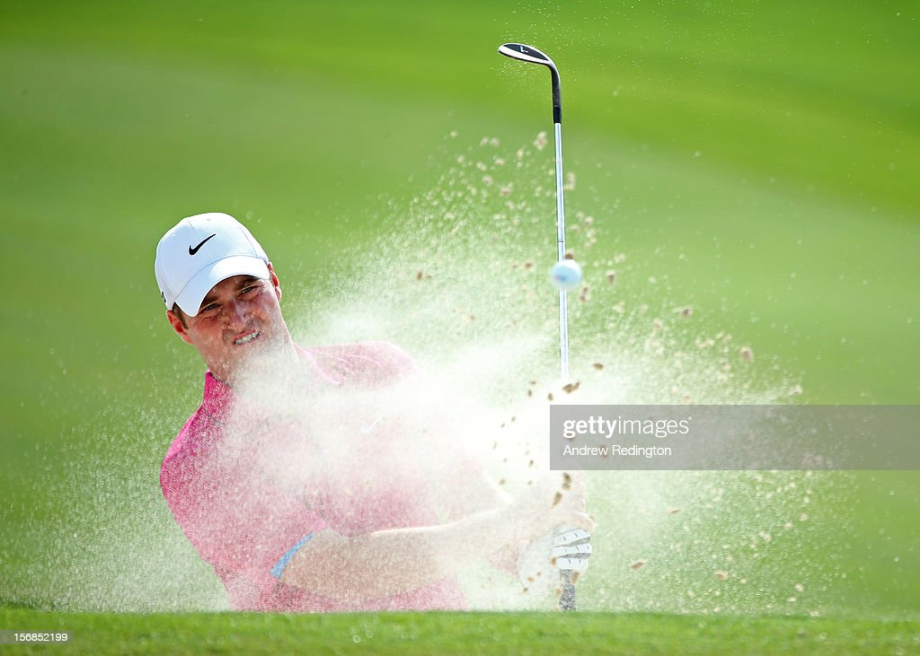 Marc Warren of Scotland in action during the second round of the DP World Tour Championship on the Earth Course at Jumeirah Golf Estates on November 23, 2012 in Dubai, United Arab Emirates.