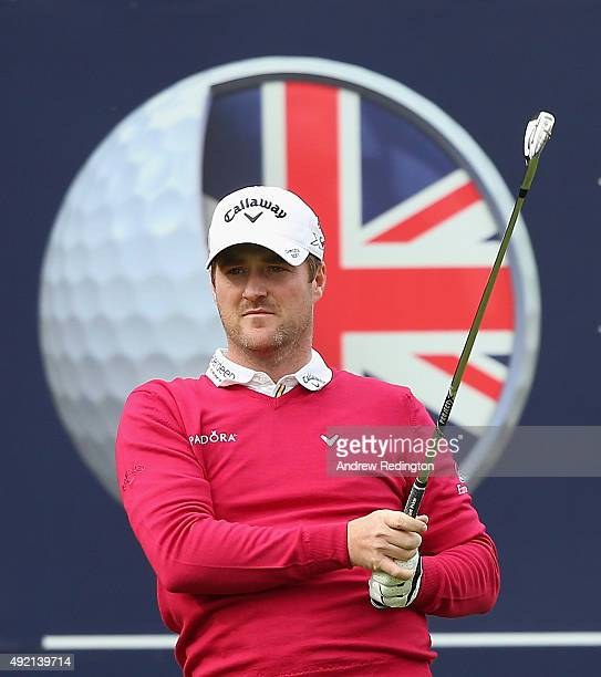 Marc Warren of Scotland in action during the third round of the British Masters supported by Sky Sports at Woburn Golf Club on October 10 2015 in...