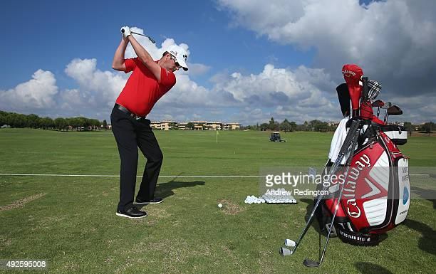 Marc Warren of Scotland is pictured at a golf clinic during the Pro Am event prior to the start of the Portugal Masters at Oceanico Victoria Golf...