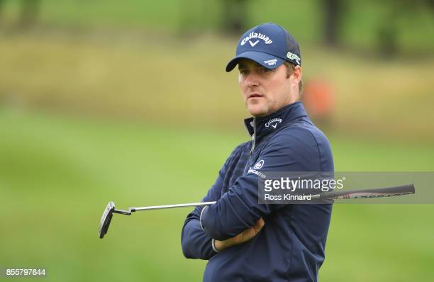 Marc Warren of Scotland looks on during day three of the British Masters at Close House Golf Club on September 30 2017 in Newcastle upon Tyne England