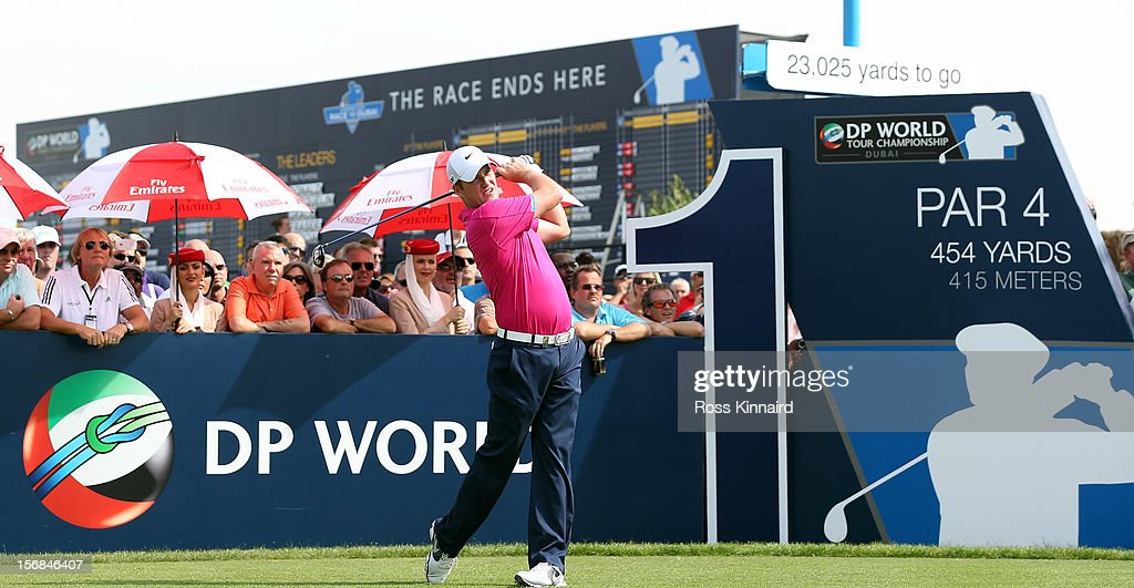 Marc Warren of Scotland on the 1st tee during the second round the DP World Tour Championship on the Earth Course at Jumeirah Golf Estates on November 23, 2012 in Dubai, United Arab Emirates...