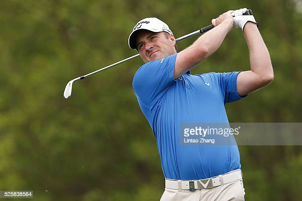 Marc Warren of Scotland plays a shot during the second round of the Volvo China open at Topwin Golf and Country Club on April 28 2016 in Beijing China