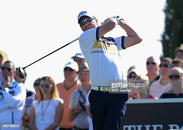 Marc Warren of Scotland plays his first shot on the 18th tee during the first round of the Portugal Masters at Oceanico Victoria Golf Club on October...