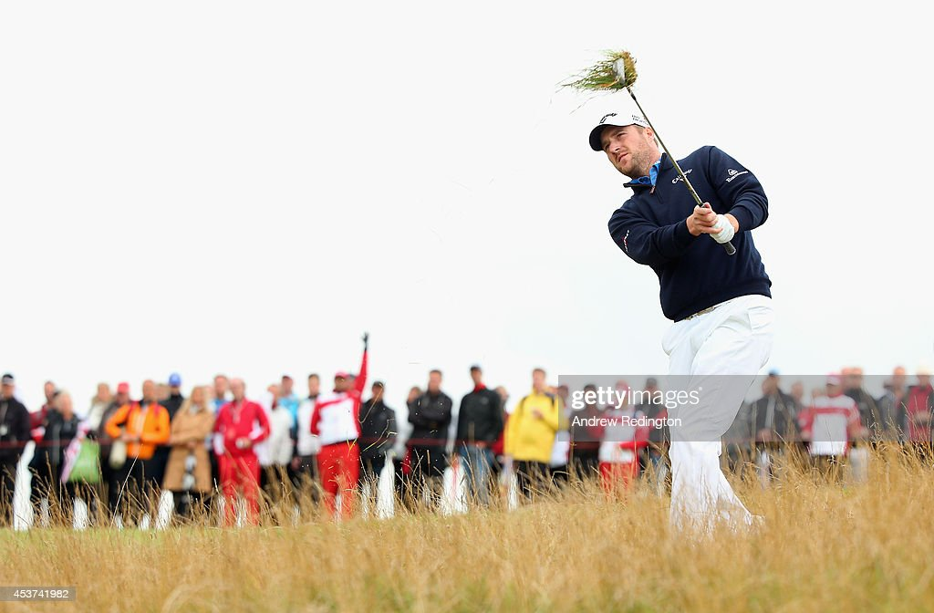 Marc Warren of Scotland plays his second shot on the 17th hole during the final round of Made In Denmark at Himmerland Golf & Spa Resort on August 17, 2014 in Aalborg, Denmark.