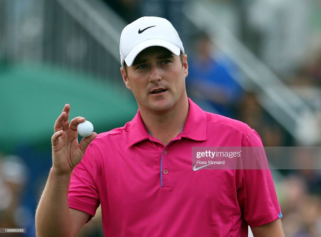 Marc Warren of Scotland shares the lead after the second round the DP World Tour Championship on the Earth Course at Jumeirah Golf Estates on November 23, 2012 in Dubai, United Arab Emirates...