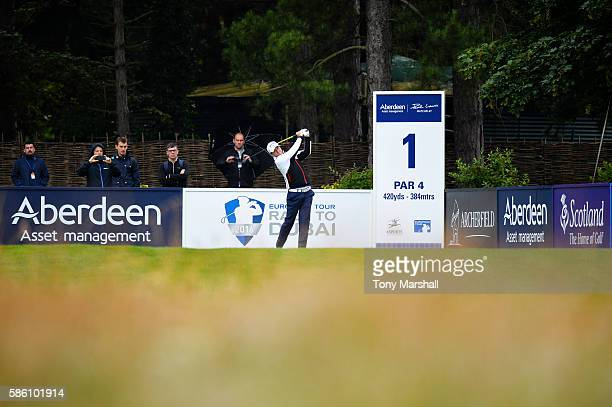 Marc Warren of Scotland takes his tee shot on hole 1 on day two of the Aberdeen Asset Management Paul Lawrie Matchplay at Archerfield Links Golf Club...