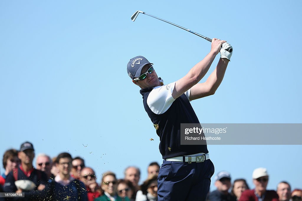 Marc Warren of Scotland tee's off at the 16th during the Third round of the Open de Espana at Parador de El Saler on April 20, 2013 in Valencia, Spain