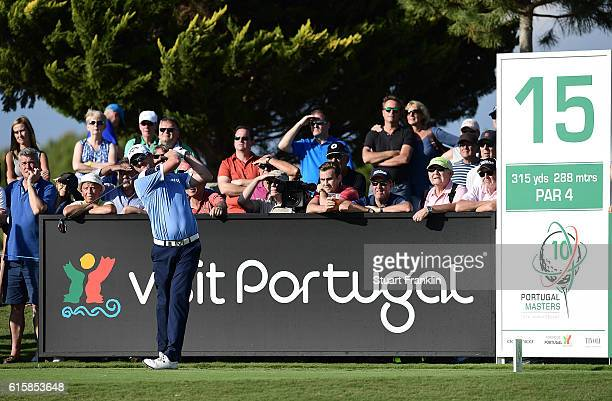Marc Warren of Scotland tees off on the 15th hole during day one of the Portugal Masters at Victoria Clube de Golfe on October 20 2016 in Vilamoura...