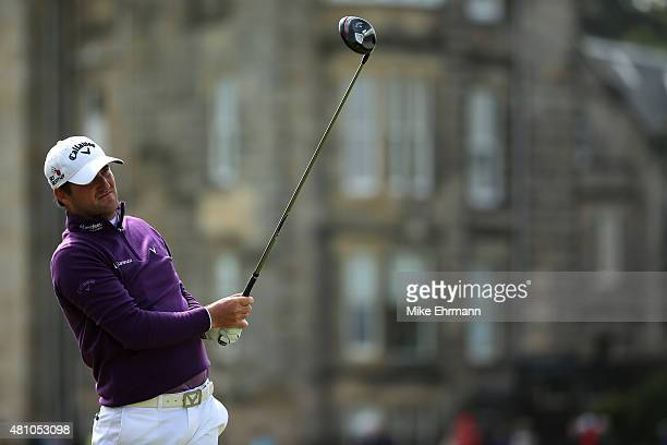 Marc Warren of Scotland tees off on the 2nd hole during the second round of the 144th Open Championship at The Old Course on July 17 2015 in St...