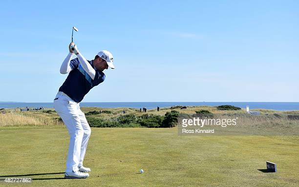 Marc Warren of Scotland tees off on the 6th hole during the semifinal match against Kiradech Aphibarnrat of Thailand in the Saltire Energy Paul...