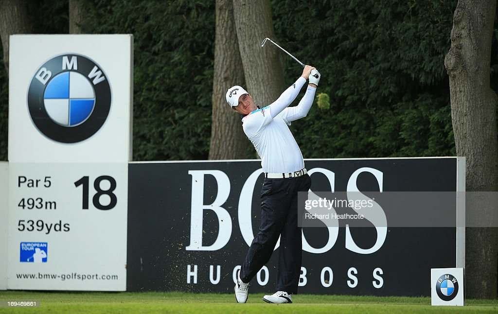 Marc Warren of Scotland tees off on the eighteenth hole during the third round of the BMW PGA Championship on the West Course at Wentworth on May 25, 2013 in Virginia Water, England.