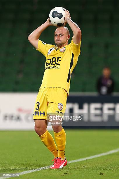 Marc Warren of the Glory throws the ball in during the FFA Cup Semi Final match between Perth Glory and Melbourne City FC at nib Stadium on October...