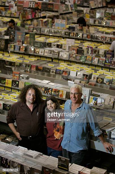 Marc Weinstein Karen Pearson and Dave Prinz co–owners of Amoeba Music along Sunset Blvd in Hollywood which relies on a knowledgeable staff and has a...