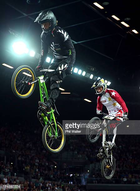Marc Willers of New Zealand clears a jump during day five of the UCI BMX World Championships at Vector Arena on July 28 2013 in Auckland New Zealand