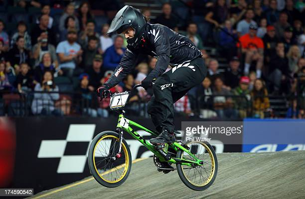 Marc Willers of New Zealand on his way to second place in the Mens Elite Final during day five of the UCI BMX World Championships at Vector Arena on...
