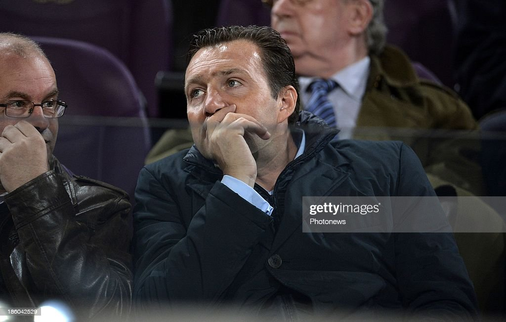 <a gi-track='captionPersonalityLinkClicked' href=/galleries/search?phrase=Marc+Wilmots&family=editorial&specificpeople=1016207 ng-click='$event.stopPropagation()'>Marc Wilmots</a> during the Jupiler League match between RSC Anderlecht and Standard Liege on October 27, 2013 in Anderlecht, Belgium.