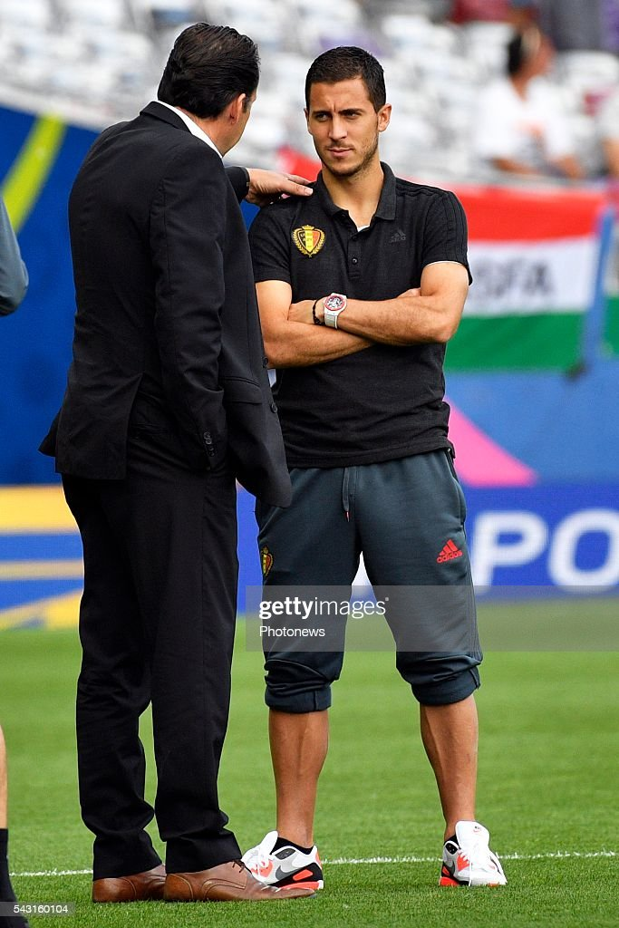 Marc Wilmots head coach of Belgian Team and Eden Hazard midfielder of Belgium pictured before the UEFA EURO 2016 Round of 16 match between Hungary and Belgium at the Stadium Toulouse on June 26, 2016 in Toulouse, France ,