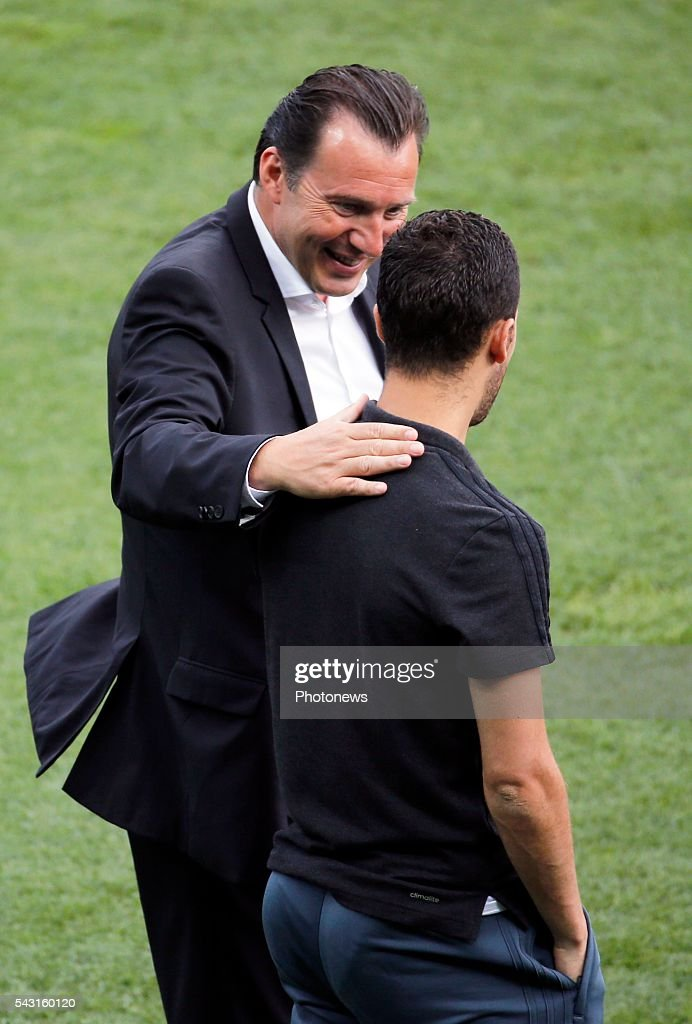 Marc Wilmots head coach of Belgian Team and Eden Hazard midfielder of Belgium before the UEFA EURO 2016 Round of 16 match between Hungary and Belgium at the Stadium Toulouse on June 26, 2016 in Toulouse, France ,