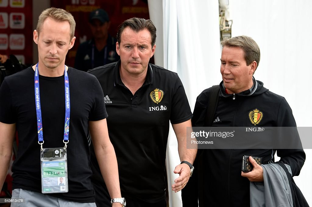 Marc Wilmots head coach of Belgian Team and Huys Piet Coach Secretary of Belgian Team before a closed training session of the National Soccer Team of Belgium as part of the preparation prior to the UEFA EURO 2016 quarter final match between Wales and Belgium at the Chateau de Haillan training center on June 29, 2016 in Bordeaux, France ,