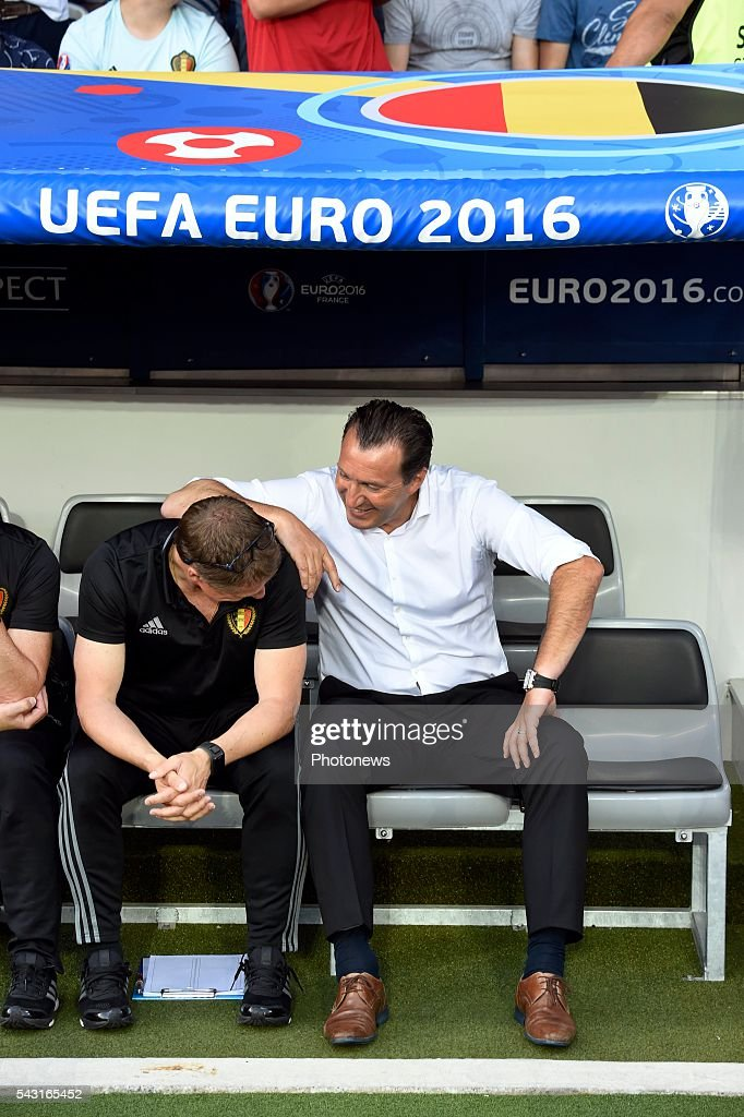Marc Wilmots head coach of Belgian Team and Vital Borkelmans ass coach of Belgian Team during the UEFA EURO 2016 Round of 16 match between Hungary and Belgium at the Stadium Toulouse on June 26, 2016 in Toulouse, France ,