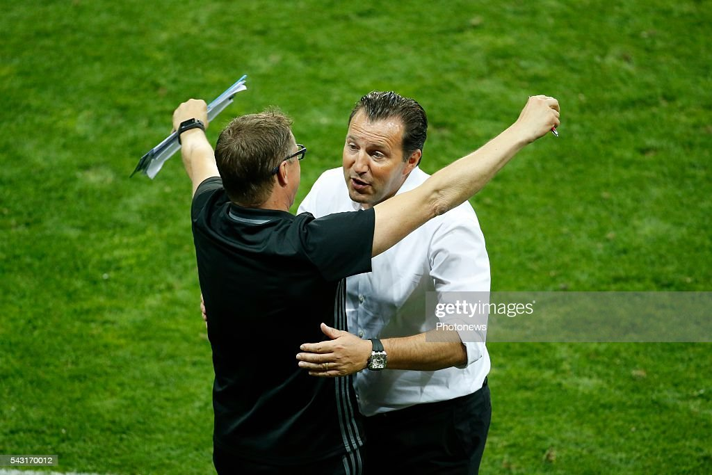 Marc Wilmots head coach of Belgian Team and Vital Borkelmans ass coach of Belgian Team celebrates during the UEFA EURO 2016 Round of 16 match between Hungary and Belgium at the Stadium Toulouse on June 26, 2016 in Toulouse, France ,