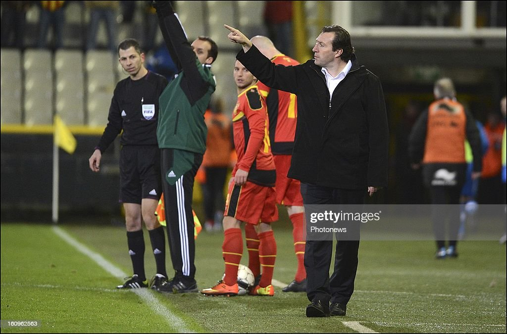 <a gi-track='captionPersonalityLinkClicked' href=/galleries/search?phrase=Marc+Wilmots&family=editorial&specificpeople=1016207 ng-click='$event.stopPropagation()'>Marc Wilmots</a> head coach of Belgian Team during a FIFA international friendly match in preparation of the World Cup qualifying round between Belgium and Slovakia at the Jan Breydel stadium on February 6, 2013 in Brugge, Belgium