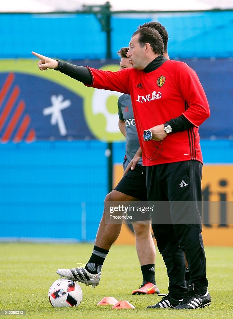 Marc Wilmots head coach of Belgian Team during a training session of the National Soccer Team of Belgium as part of the preparation prior to the UEFA EURO 2016 quarter final match between Wales and Belgium at the Chateau de Haillan training center on June 28, 2016 in Bordeaux, France ,