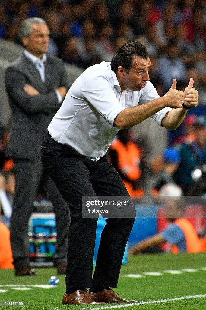 Marc Wilmots head coach of Belgian Team gestures during the UEFA EURO 2016 Round of 16 match between Hungary and Belgium at the Stadium Toulouse on June 26, 2016 in Toulouse, France ,