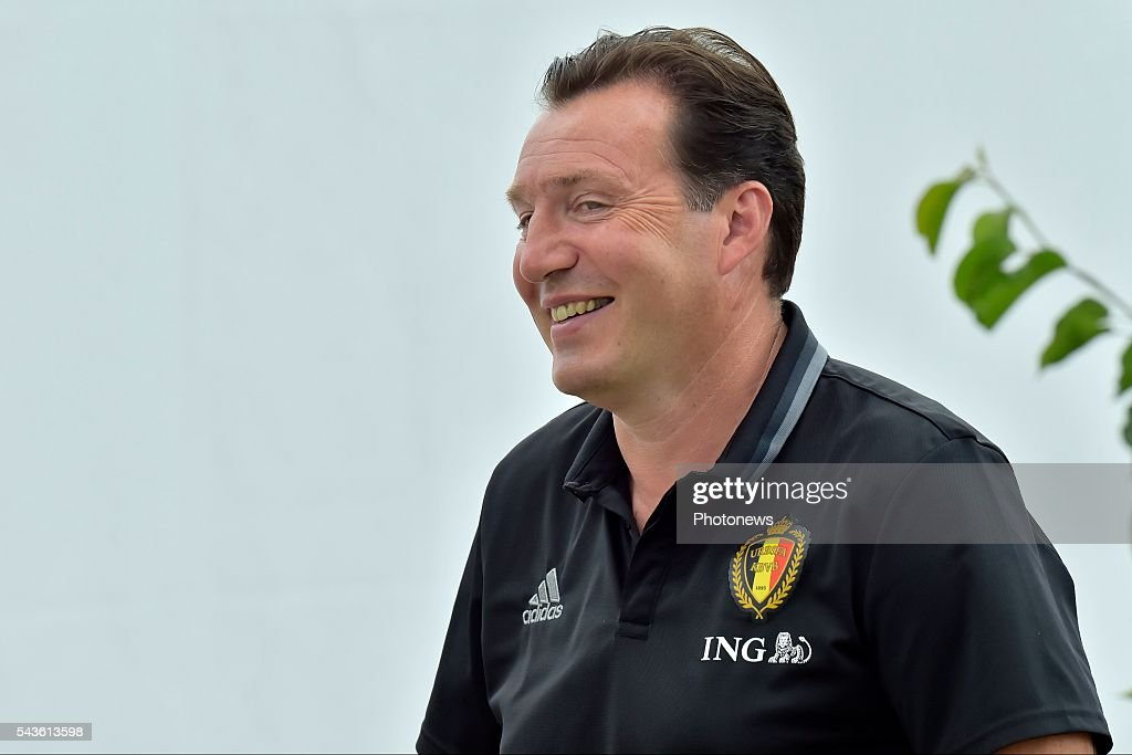 Marc Wilmots head coach of Belgian Team pictured before a closed training session of the National Soccer Team of Belgium as part of the preparation prior to the UEFA EURO 2016 quarter final match between Wales and Belgium at the Chateau de Haillan training center on June 29, 2016 in Bordeaux, France ,