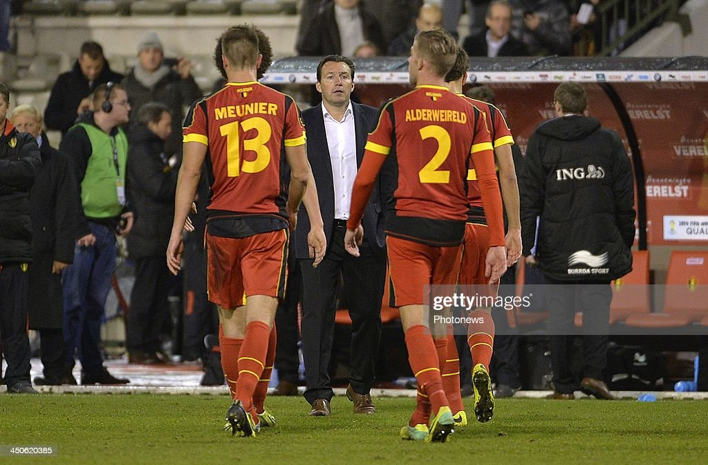 Marc Wilmots head coach of Belgian Team pictured during the international friendly match before the World Cup in Brasil between Belgium and Japan on November 19, 2013 in Brussels, Belgium