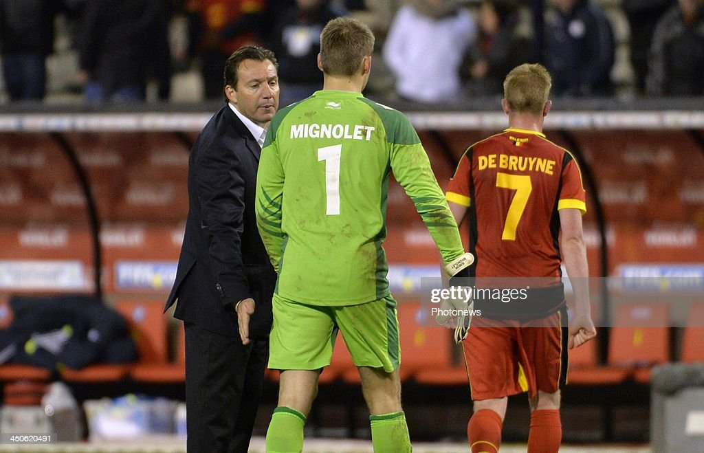 Marc Wilmots head coach of Belgian Team - Simon Mignolet goalkeeper of Liverpool FC pictured during the international friendly match before the World Cup in Brasil between Belgium and Japan on November 19, 2013 in Brussels, Belgium