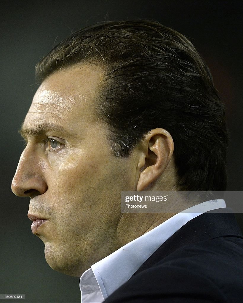 Marc Wilmots, head coach of Belgium pictured during the international friendly match before the World Cup in Brasil between Belgium and Japan on November 19, 2013 in Brussels, Belgium