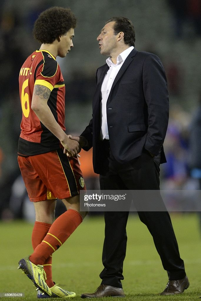 Marc Wilmots, headcoach of Belgium and Axel Witsel of Belgium show dejection during the international friendly match before the World Cup in Brasil between Belgium and Japan on November 19, 2013 in Brussels, Belgium