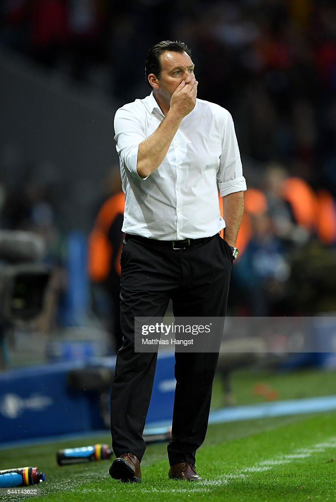 Marc Wilmots manager of Belgium looks on during the UEFA EURO 2016 quarter final match between Wales and Belgium at Stade Pierre-Mauroy on July 1, 2016 in Lille, France.
