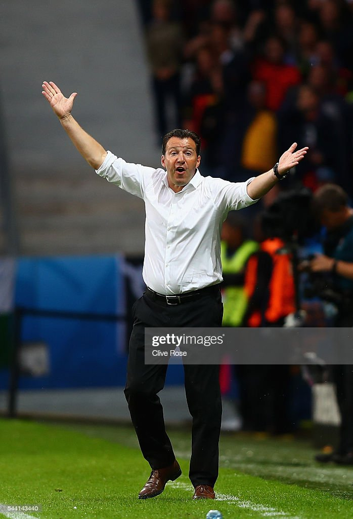 <a gi-track='captionPersonalityLinkClicked' href=/galleries/search?phrase=Marc+Wilmots&family=editorial&specificpeople=1016207 ng-click='$event.stopPropagation()'>Marc Wilmots</a> manager of Belgium reacts during the UEFA EURO 2016 quarter final match between Wales and Belgium at Stade Pierre-Mauroy on July 1, 2016 in Lille, France.