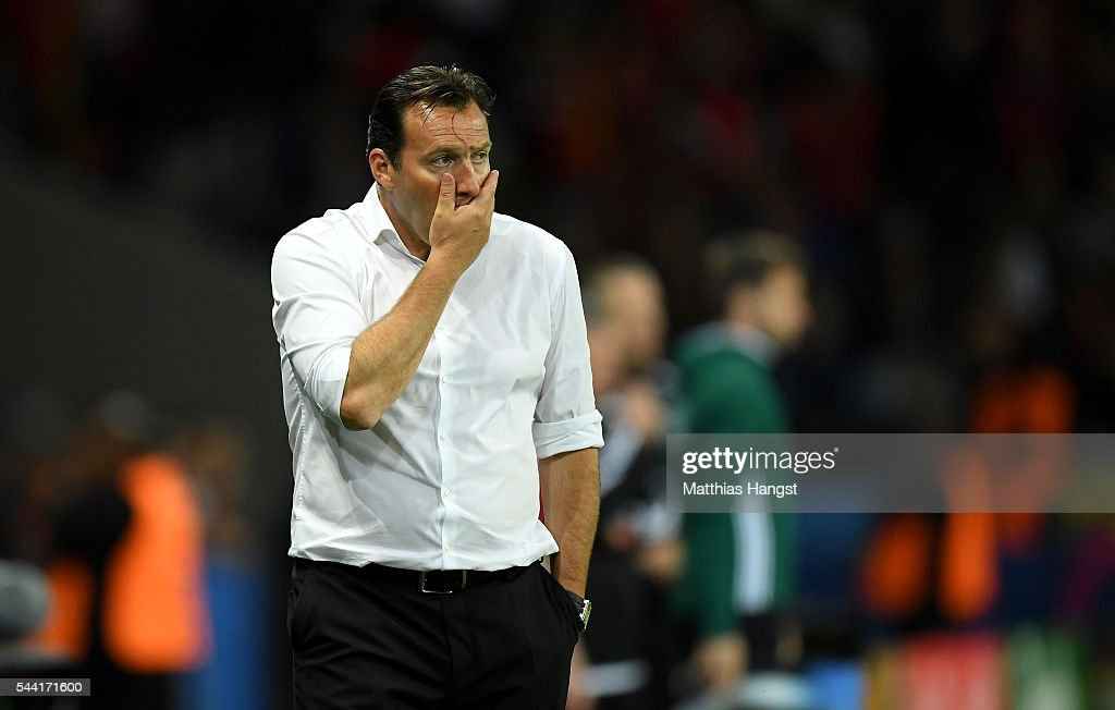 <a gi-track='captionPersonalityLinkClicked' href=/galleries/search?phrase=Marc+Wilmots&family=editorial&specificpeople=1016207 ng-click='$event.stopPropagation()'>Marc Wilmots</a> manager of Belgium shows his dejection after his team's 1-3 defeat in the UEFA EURO 2016 quarter final match between Wales and Belgium at Stade Pierre-Mauroy on July 1, 2016 in Lille, France.
