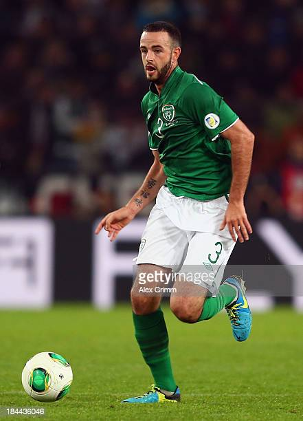 Marc Wilson of Ireland controles the ball during the FIFA 2014 World Cup Group C qualifiying match between Germany and Republic of Ireland at...