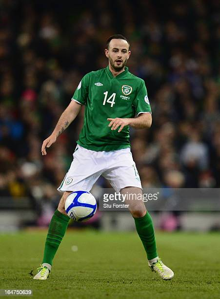 Marc Wilson of Ireland in action during the FIFA 2014 World Cup Group C Qualifiying match between Republic of Ireland and Austria at Aviva Stadium on...