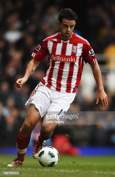 Marc Wilson of Stoke City controls the ball during the Barclays Premier League match between West Ham United and Stoke City at the Boleyn Ground on...