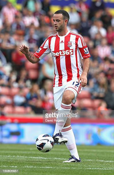 Marc Wilson of Stoke City controls the ball during the Barclays Premier League match between Stoke City and Arsenal at the Britannia Stadium on...