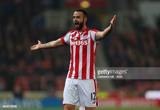 Marc Wilson of Stoke City reacts during the Capital One Cup Fourth Round match between Stoke City and Chelsea at Britannia Stadium on October 27 2015...
