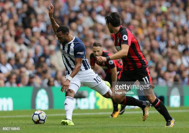 Marc Wilson of West Bromwich Albion and Charlie Daniels of AFC Bournemouth battle for the ball during the Premier League match between West Bromwich...